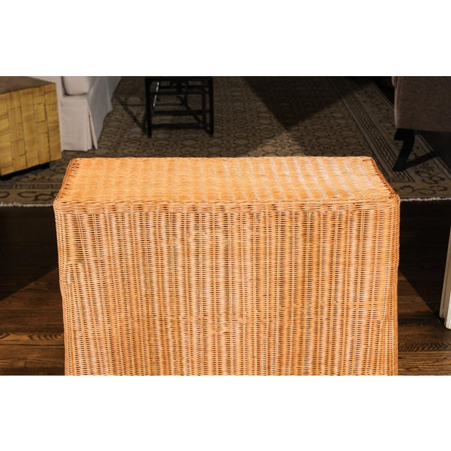 Wicker Stellar Vintage Trompe l'Oiel Drape Wicker Console Table For Sale - Image 7 of 13