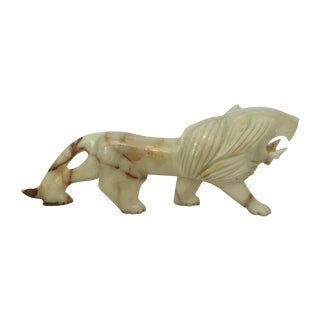 Carved Onyx Lion Figure For Sale