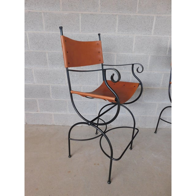 Features Fine Made Quality Construction, Custom Wrought Iron, with Leather Back & Bottom, Approx 10 years old ( Saddle...
