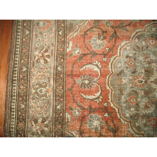 Shabby Chic Persian Tabriz Rug - 9′6″ × 12′8″ For Sale - Image 4 of 7