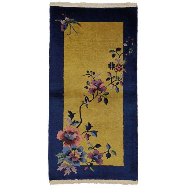 Early 20th Century 20th Century Chinese Art Deco Style Accent Rug - 2′5″ × 4′9″ For Sale - Image 5 of 5