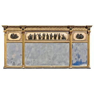 Early 19th C. Regency Original Neoclassical Overmantel Mirror For Sale