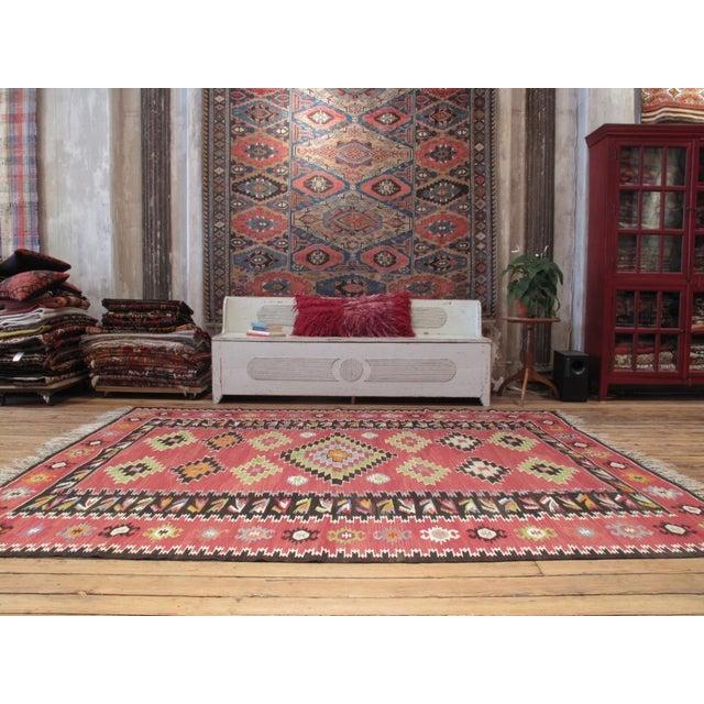 Primitive Balkan Kilim For Sale - Image 3 of 8