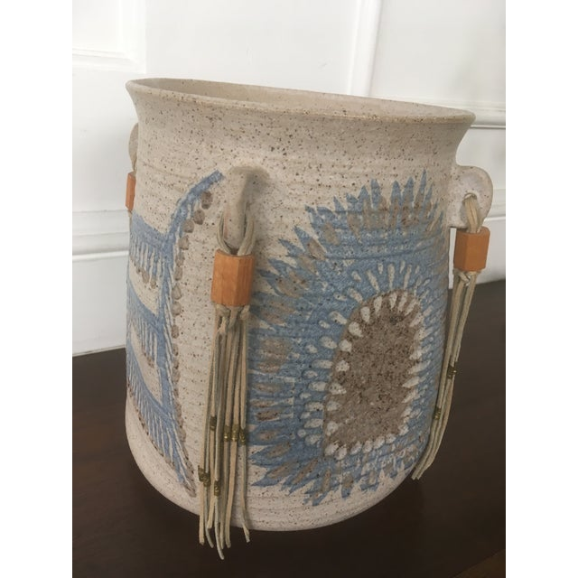 Blue Vintage Mid Century Feather Native American Style Pottery Planter For Sale - Image 8 of 13
