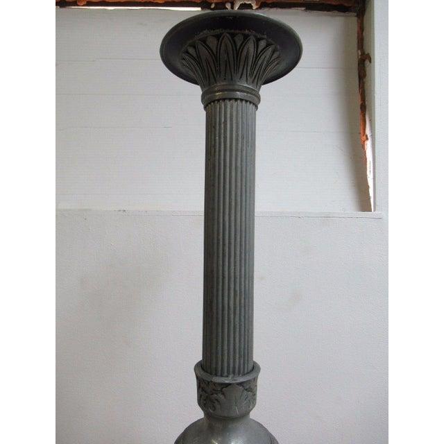Aluminum Antique Aluminum Carved Industrial Regency Pedestal Candle Base For Sale - Image 7 of 10