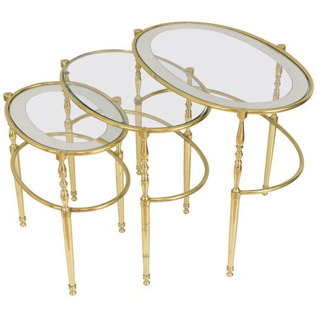 Interesting Oval Brass Nesting Tables, Circa 1940 - Image 8 of 8