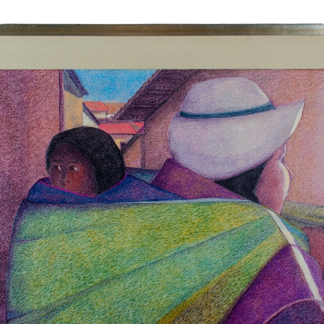 """Modern """"Woman With Child"""" by Ernesto Gutierrez Oil on Canvas For Sale - Image 3 of 7"""
