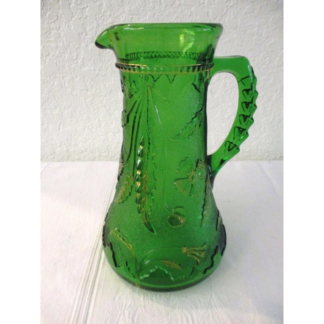 Antique Northwood Emerald Green Glass Pitcher For Sale - Image 9 of 9