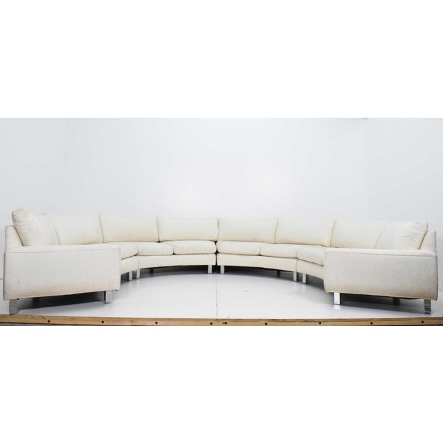 Large Milo Baughman White Upholstered Four Section Circular Sofa For Sale - Image 13 of 13