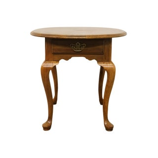 20th Century Queen Anne Kling Furniture Solid Cherry Oval End Table For Sale