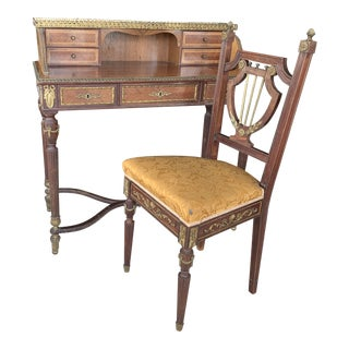 20th Century Louis XVI Style Writing Desk and Chair - 2 Pieces For Sale