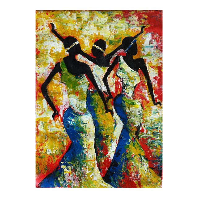 Large Rwanda African Dancing Women Acrylic Painting by Artist J d'Amour - Image 1 of 5