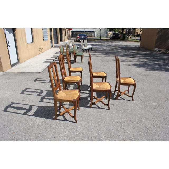 Rush Early 20th C. Vintage French Country Rush Seat Walnut Dining Chairs- Set of 6 For Sale - Image 7 of 13