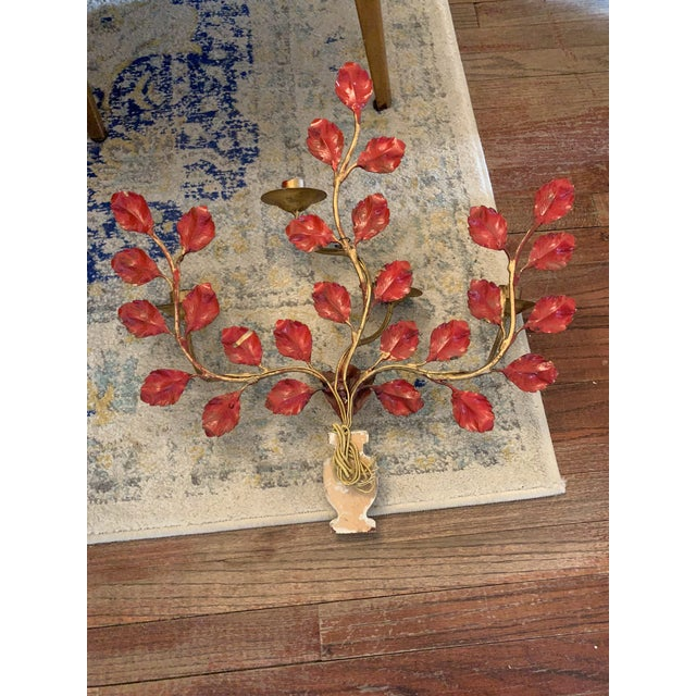 1950s Italian Carved Vasiform & Leafy Branch Wall Sconce For Sale - Image 11 of 13