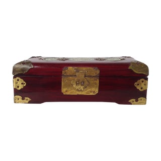 Asian Style Jade & Brass Jewelry Box For Sale