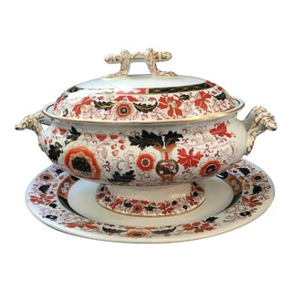 Final Markdown 19th C. Ashworth Soup Tureen & Underplate For Sale