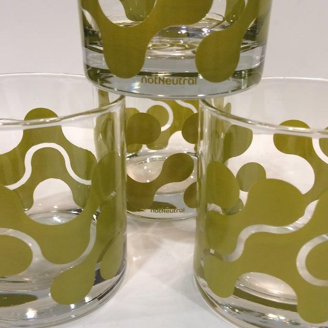 Op Art Avocado Green Lo-Ball Glasses - Set of 4 - Image 9 of 11