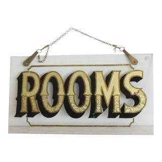 "Early 20h C. Antique Reverse Painted ""Rooms"" Glass Sign For Sale"