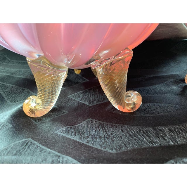 Barovier & Toso 20th Century Murano Pink and Lavender Opalescent Art Glass Lamps - a Pair For Sale In Chicago - Image 6 of 10