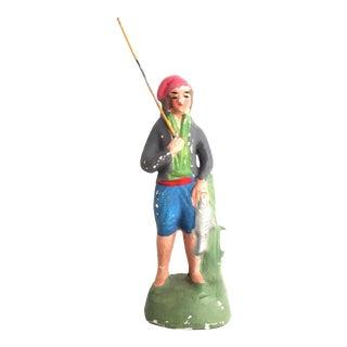 Antique French Santon the Fisherman Le Pecheur Figurine For Sale