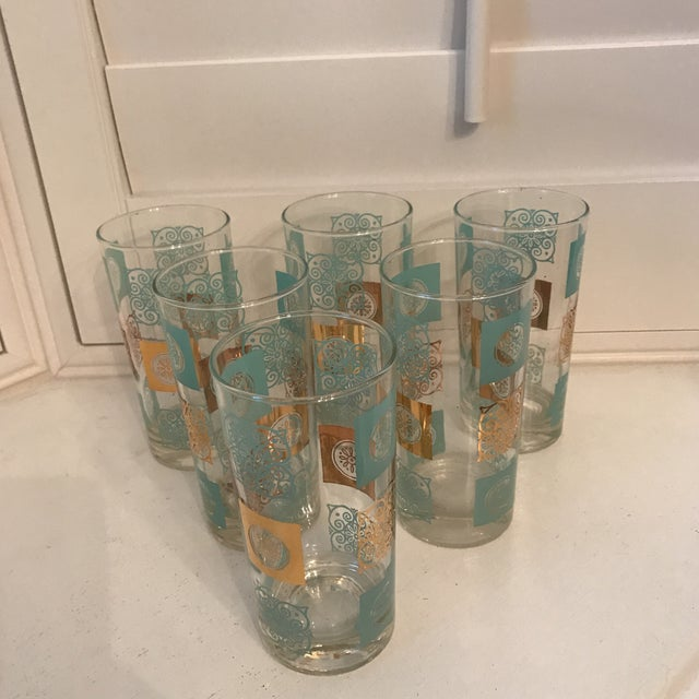 Vintage, Mid Century Aqua and Gold Tall Cocktail Glasses