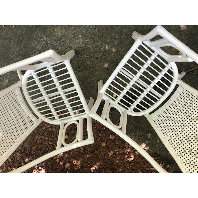 Fabric Vintage Mid Century White Rattan Arm Chairs- A Pair For Sale - Image 7 of 12