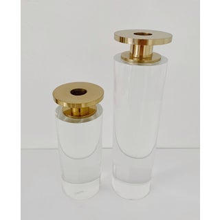 1980s Vintage Lucite and Brass Candle Holders - a Pair Preview