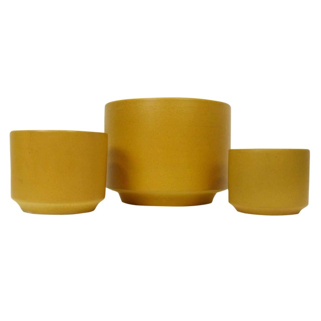 Gainey Ceramics Mustard Yellow Planters - Set of 3 For Sale