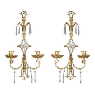 1920s Caldwell Sconces With Crystal Hangings - a Pair For Sale