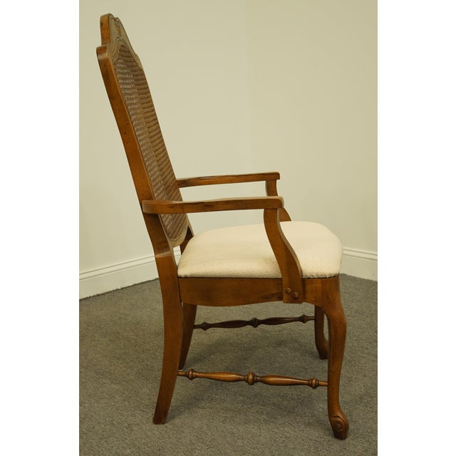 Brown Late 20th Century Vintage Bernhardt Furniture French Provincial Cane Back Dining Arm Chair For Sale - Image 8 of 11