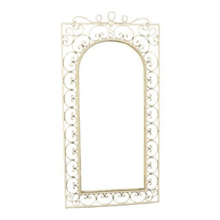 Tall French Scrolled Iron Wall Mirror For Sale