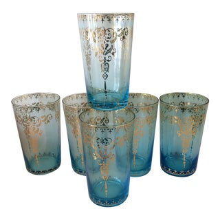 Blue and Gold Moroccan Design Tumblers - Set of 6 For Sale