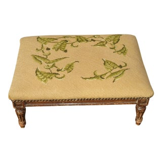 Vintage French Country Tan Needlepoint W Green Leaves Footstool For Sale
