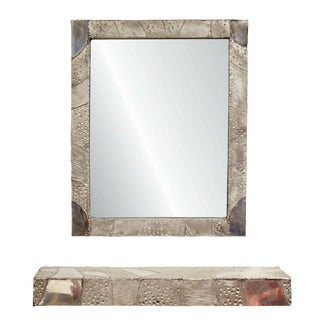 Modernist Aluminum Floating Wall Mounted Shelf & Mirror Argente Evans Style For Sale