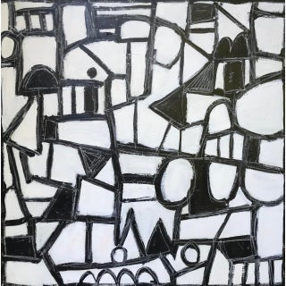 """Sarah Trundle, Contemporary Abstract Black and White Painting, """"Much Ado"""" For Sale"""