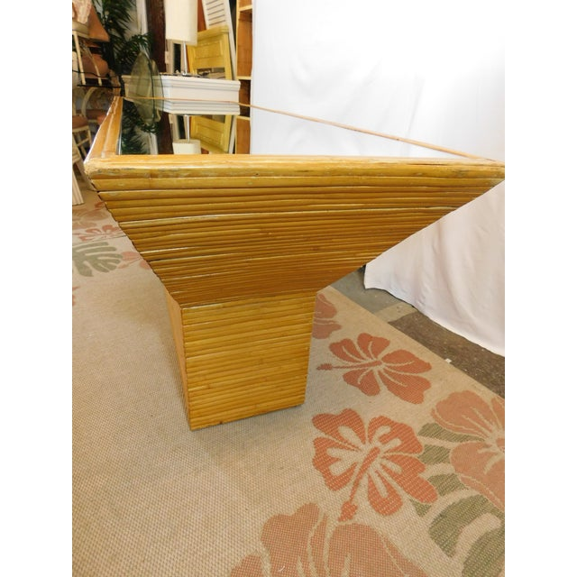 Vintage Mid-Century Split Reed Mirror Top Console Table - Image 4 of 10