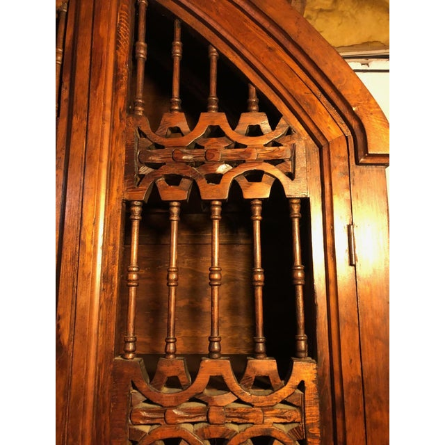 Gothic Magnificent Hand Carved Mahogany Gothic Style Bookshelf Cabinet For Sale - Image 3 of 11