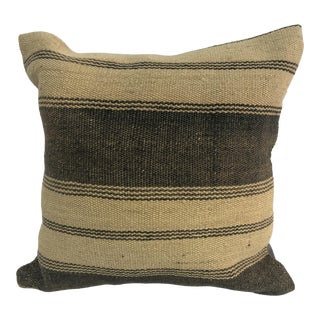 1970s Turkish Handmade Brown and Camel Kilim Pillow Cover For Sale