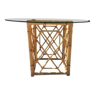 Mid-Century Burnt Bamboo & Rattan W/ Glass Top Table