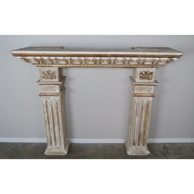 Wood 19th Century Italian Painted and Parcel Gilt Fireplace Mantel For Sale - Image 7 of 13