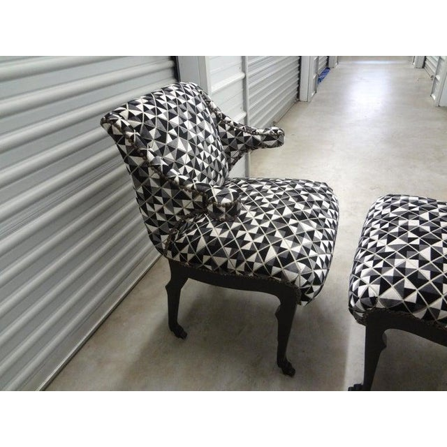 James Mont Inspired Ebonized Chairs With Hoof Feet-A Pair For Sale - Image 10 of 13