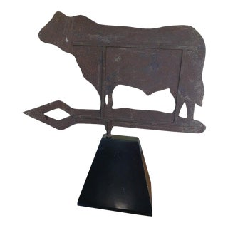 Cow Iron Weathervane on a Stand, Early 20th Century For Sale