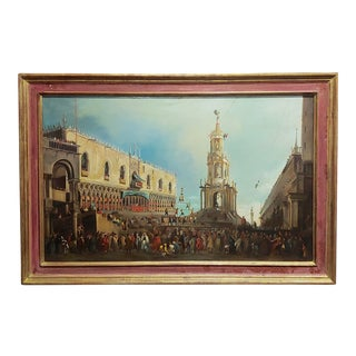 18th Century Antique Canaletto School-Doge Palace Festival in Venice Oil Painting For Sale
