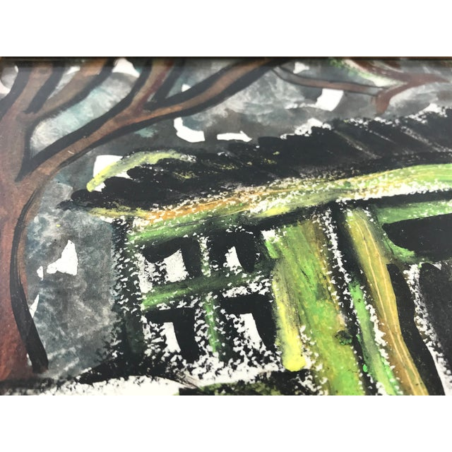 """Paint 1996 Small English Abstract """"Green House"""" Framed Painting For Sale - Image 7 of 11"""