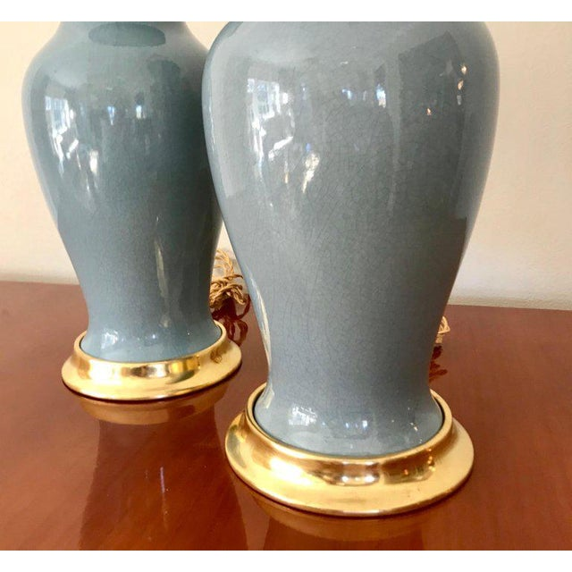 1960s Slate Blue Ceramic on 23-Karat Water Gilt Base Table Lamps - a Pair For Sale - Image 5 of 13
