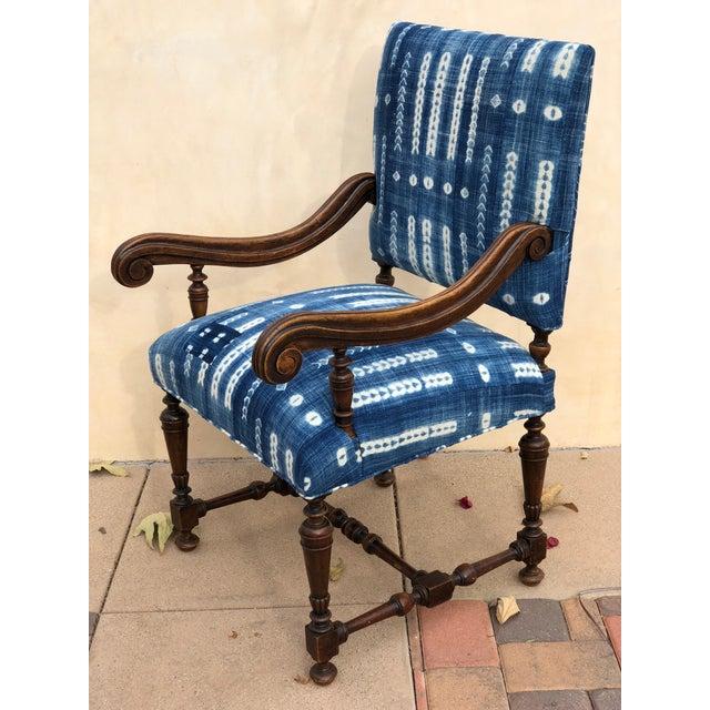 Antique Jacobean-Style Mahogany Mali Indigo Upholstered Armchair - Image 8 of 11