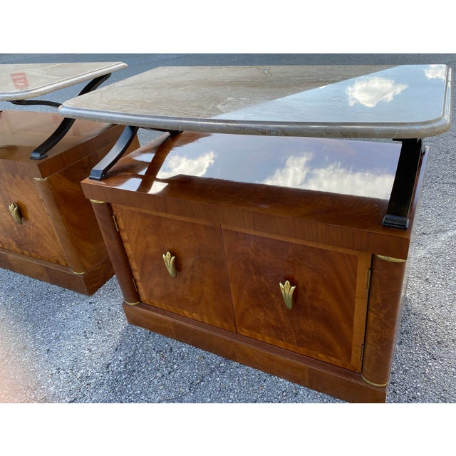 Metal 1980s Henredon Burl Nightstand Tables with Granite Tops - a Pair For Sale - Image 7 of 13