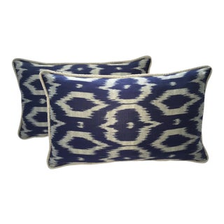 Navy Blue & Gray Silk Atlas Ikat Pillows - a Pair For Sale