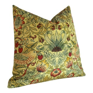 """Yellow William Morris """"Strawberry Thief"""" Pillow Cover For Sale"""