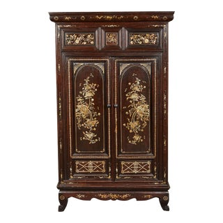 20th Century Mother-Of-Pearl French Colonial Vietnamese 2-Door Cabinet For Sale